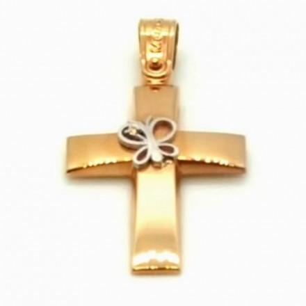 Σταυρός 14Κ σε ρόζ Χρυσό και Λευκόχρυσο με ζιργκόν