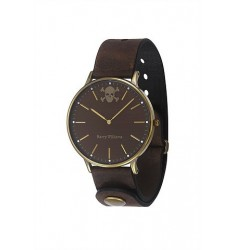 HARRY WILLIAMS - Gold case, with Brown Leather Strap