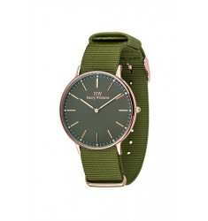 HARRY WILLIAMS Rose Gold Green Fabric Strap
