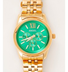 ANGEL Ladies Multifunction Gold case with Stainless Steel Bracelet