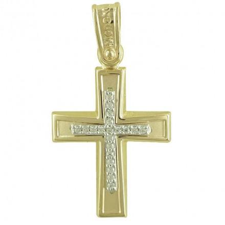 Σταυρός 14Κ σε Χρυσό με ζιργκόν